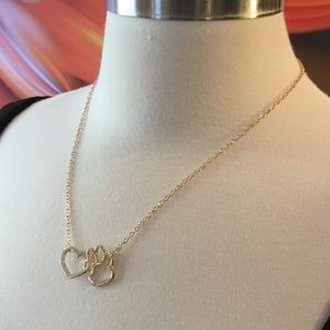 HEART PAW DOG LOVERS 14K GOLD NECKLACE